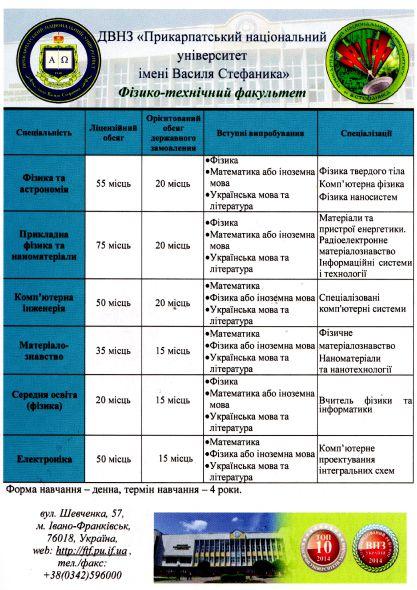 Інформація про спеціальності фізико-технічного факультету Прикарпатського університету ім. В. Стефаника